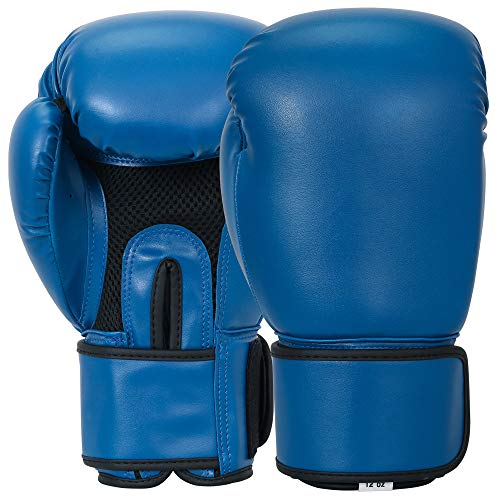 MACS Boxing Bag Gloves Synthetic Leather (Blue, 14oz)