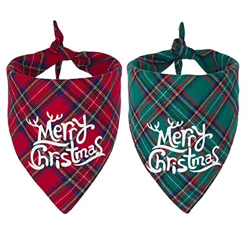 2 Pack Dog Bandana Christmas Red Green Plaid Dog Scarf Triangle Bibs Kerchief Dog Christmas Accessories Christmas Bandans for Small Medium Large Dogs Pets