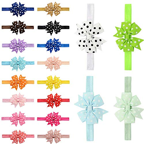 Baby Girls Nylon Headbands, IIS Chiffon Flowers Bows Newborn Infant Toddler Hairbands and Child Hair Accessories (Multicolored-4-20PCS)