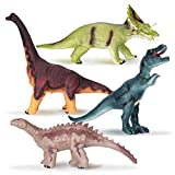 Kidswon 4 Pack 13' Rubber Dinosaur Toys with Realistic Sounds, Large Soft Dinosaurs for Kids Educational Set for Boys(Style 1)