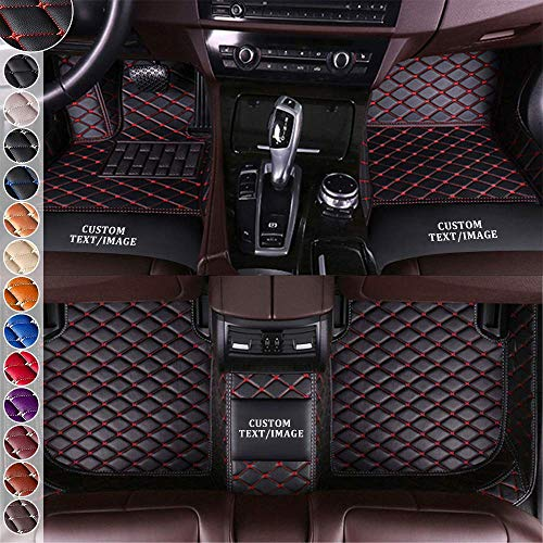 Jialuode Custom All Weather Car Floor Mats,Diamond Mats with Logo,Leather Liner Mats,Luxury Carpet Mats,Full Set Protection for Coupe Sport Sedan Convertible Van SUV, Black & Red line