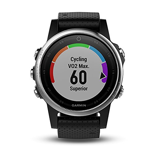 Garmin Fenix 5S Multisport GPS Watch with Outdoor Navigation and Wrist-Based Heart Rate, Silver with Black Band (Reacondicionado)