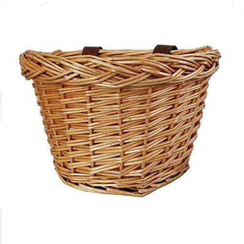 Wicker Fahrradkorb, Traditioneller Wicker Fahrradkorb Vorne - Manuelle Technologie wasserdichte No Break Basket Tragetasche Mit Hellbraunen Lederriemen
