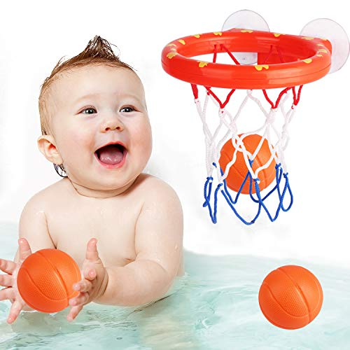 zoordo Bath Toys Bathtub Basketball Hoop Balls Set for Toddlers Kids with Strong...