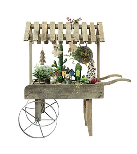 ZENGAI Retro Bastidores de Flores De Madera Carros Accesorios Tienda decoración Soporte de exhibición, 37.4 * 37.4 Pulgadas Jardinería