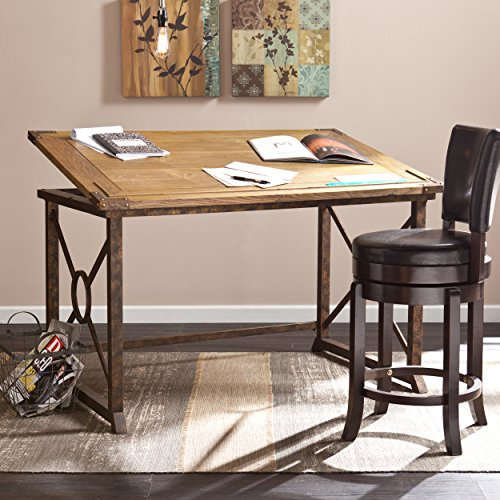Knightley Tilt Top Drafting Table - 51.5' Wide - Oak Wood Finish w/ Antique Brass, Brown