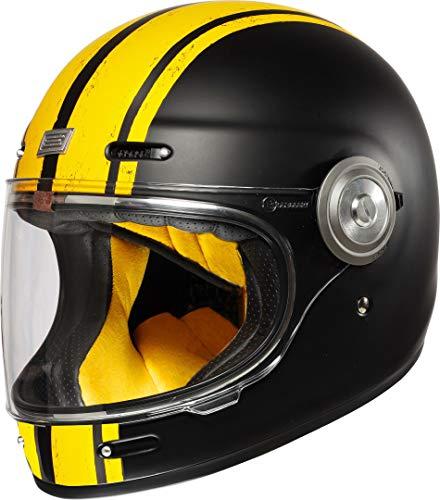 Origine Helmets Herren Origine Vega Custom Black Integralhelm Vintage, Yellow Matt-Schwarz Matt, S