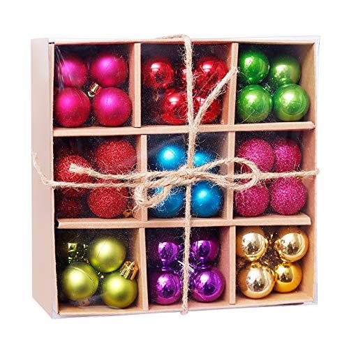 Juego de bolas de Navidad en varios colores – Juego de 99 bolas de Navidad de 3 cm de diámetro de plástico dorado, plateado, rojo y cobre UVM. Decoración para árbol de Navidad y decoración