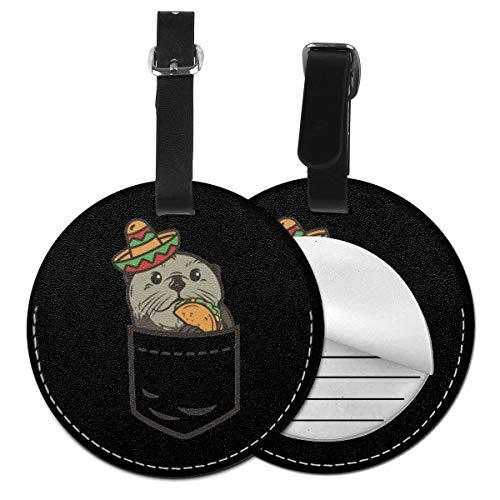 Kofferanhänger PU Leder Taschen Taco, Gepäckanhänger ID Etikett Mit Adressschild Namenschild für Reisetasche Koffer