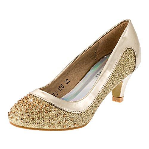 Festliche Mädchen Pumps Ballerina Schuhe Absatz Glitzer in vielen Farben M149go Gold 33