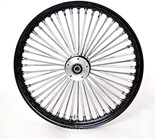 """Demon`s Cycle 21"""" x 3.5"""" Black 48 Fat Spoke Front Wheel, Compatible with Harley-Davidson Single Disc"""