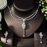MLKJSYBA Collares 2pcs Jewelry Bridal Sets New Fashionjewely Set para Women Wedding Party Accessories Design Collares para Mujeres (Color : Silver, Size : 38)