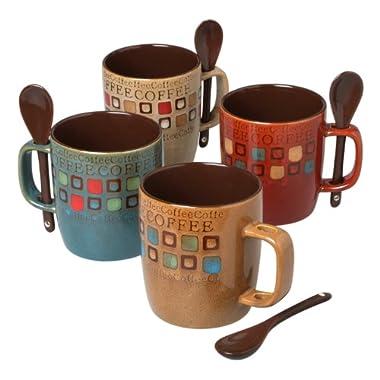 Mr. Coffee 90592.08RM Café Americano 8Piece 13 Ounce Mug Set with Spoons, Assorted Styles/Color