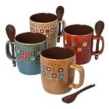 Mr. Coffee 90592.08RM Café Americano 8Piece 14 Ounce Mug Set with Spoons, Assorted Styles/Color