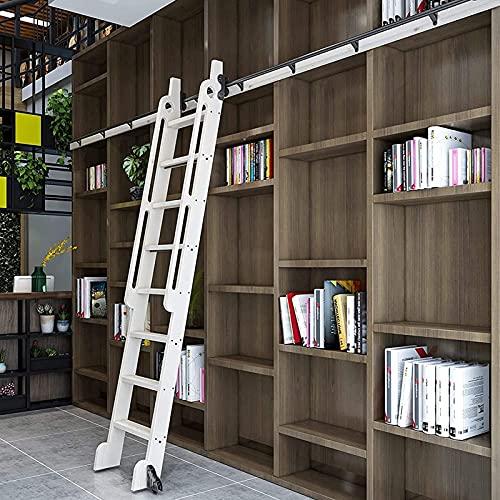 Herraje para Puerta Corredera Kit Juego de herrajes para escalera corrediza de biblioteca 3.3ft-20ft Riel / riel redondo, Riel de escalera móvil de tubo redondo para interiores / loft, con ruedas de r