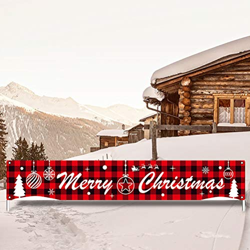 Merry Christmas Banner Merry Christmas Hanging Sign Extra Large Christmas Sign Christmas Background Banner for Home, Wall Decoration, Party Decorations, 300 x 50 cm