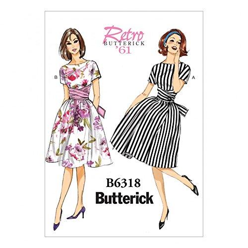 Butterfly 6318 Schnittmuster für Damen, Vintage-Stil, Krawatte, Taillenkleid