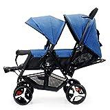 YONIISEA Cochecito Doble tándem Gemelos Cochecito para bebés Bebés, niños pequeños Silla de Paseo Paraguas Sistema de Cochecito Ligero y Plegable con Respaldo Ajustable Regalo para bebé,Blue1