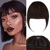 Extensiones Flequillo de Clip de Pelo Natural Franja Sin Diluir 25g 100% Cabello Humano Hair Bangs Extensions - #2 Marrón Oscuro