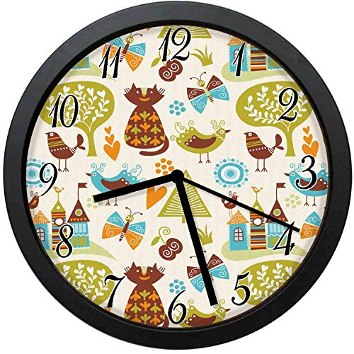 YiiHaanBuy Cats Birds and Butterflies with Ornate Details Fantasy Castle Trees Hes,10-inch Round Decorative Wall Clock,Silent Non-Ticking,Decorating Each Room,is The Best Gift