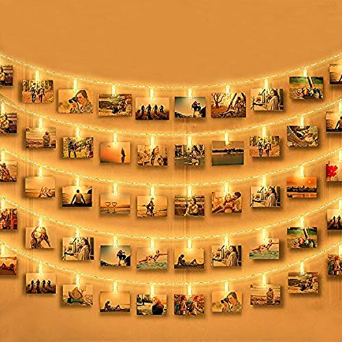 Dricar 50 Photo Clip String Lights, Battery Powered Indoor String Lights for Hanging Photos Pictures, Photo Holder for Christmas Wedding Birthday Decoration Gift (Warm White, 17Ft)