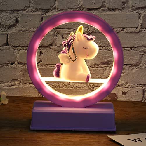 mesa de unicornio luz decoración de dormitorio música lámpara de noche regalo de cumpleaños para niña sin batería incluida - púrpura