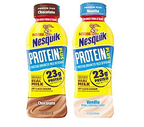 Nestle Nesquik Protein Plus Milk, 2 Flavor Variety Pack, 14 oz Plastic Bottles (Pack of 12)