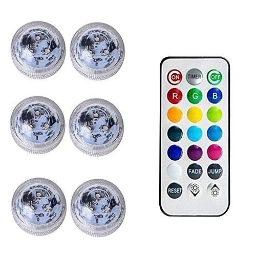 QTER 6 Pack Waterproof Underwater Light, Submersible LED Lights with Remote Control RGB 13 Color LED Pond Lighting for Vase Base, Bath Tub, Decoration