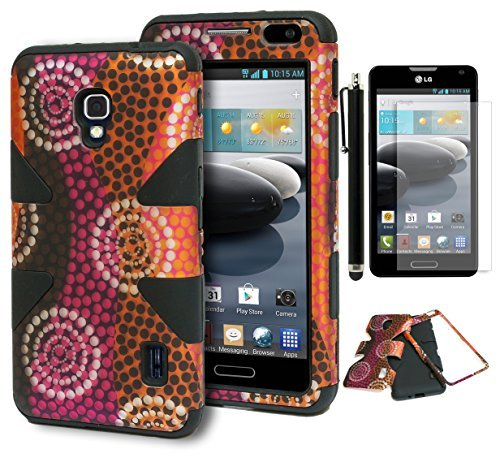 Bastex Heavy Duty Hybrid Case for LG Optimus F6 D500 - Solid Black Silicone Cover Surrounded by Antique Colorful Circles Hard Case Shell - Includes Screen Protector and Stylus