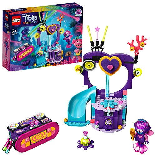 LEGO 41250 Party am Techno Riff Trolls World Tour, Spielset mit Meerjungfrau- und Tintenfisch-Figuren