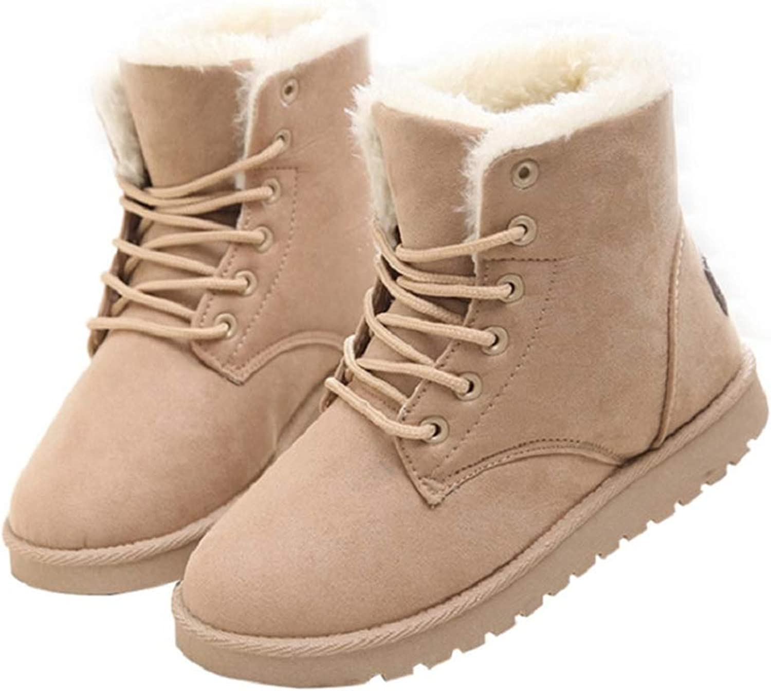 Hoxekle Women Winter Boots Warm Suede Fashion Lace Up Flat Boots High Women Snow Boots with Fur