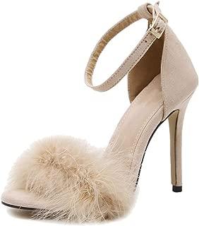 fereshte Women's Fluffy Feathers Ankle Strap Stiletto High Heels Dress Sandals