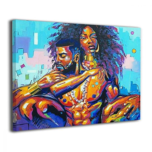 Okoart Canvas Wall Art Prints African American Lovers Couple Photo Paintings Contemporary Decorative Artwork
