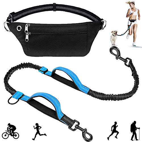 Hands Free Dog Leash with Dual Padded Handles and Waist Bag Bungees Leash for Running Walking Training Hiking Up to 150lbs Large Dogs  Lnichot Waist Pack