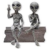 "Alien Invasion Ledge Loungers ""Peace & Quiet"" 10″ H UFO Extraterrestrial Garden Alien Statues Figurine Set – Alien Gray"