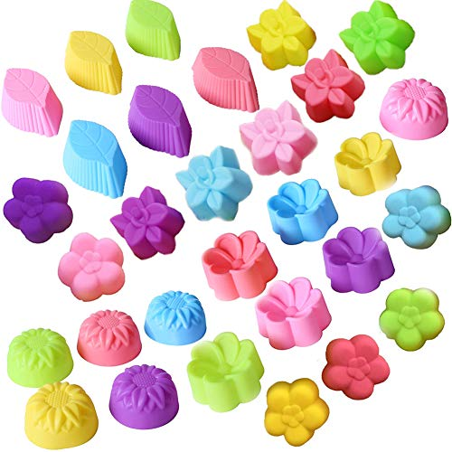 30Pcs Silicone Cupcake Moulds Baking Cups Cake Molds Sets,Nonstick Bakeware Muffin Bread Cake Molds for Donut, Muffin, Cake, Cookie, Pudding DIY Baking Cases - 6 Shapes