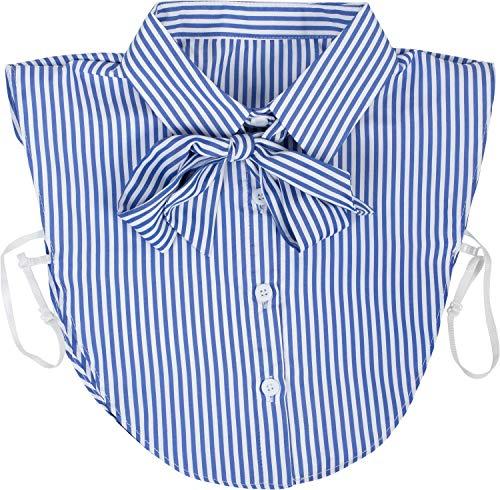 styleBREAKER Damen Blusenkragen Einsatz mit Knopfleiste und Schleife, Kragen für Blusen und Pullover, Schluppenbluse 08020003, Farbe:Royalblau-Weiß