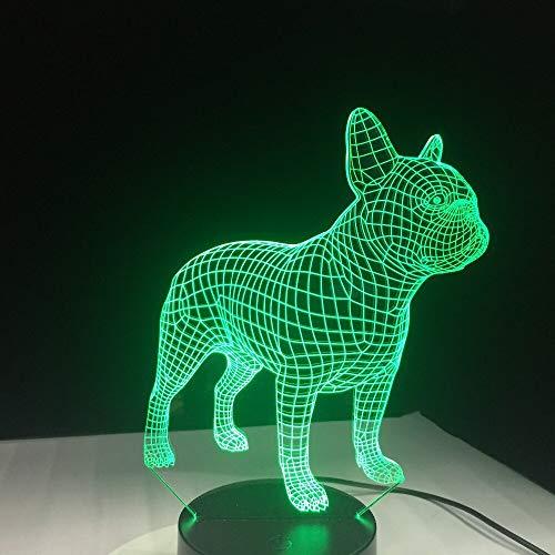 Lámpara de Mesa Visual Linda Bulldog luz de Noche niños Tipo de Cambio de Color Toque de Regalo niños iluminación de cabecera