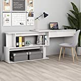 UnfadeMemory Mesa de Escritorio con Diseño Giratorio,Mesa Consola para Pasillo,Mesa de Oficina,Madera...