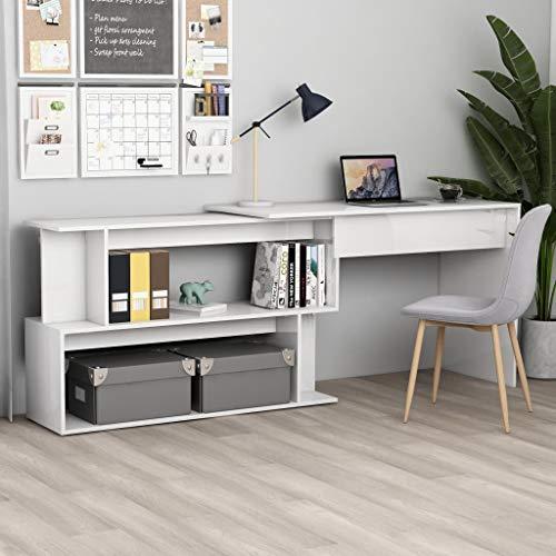 UnfadeMemory Mesa de Escritorio con Diseño Giratorio,Mesa Consola para Pasillo,Mesa de Oficina,Madera Aglomerada,200x50x76cm (Blanco Brillante)