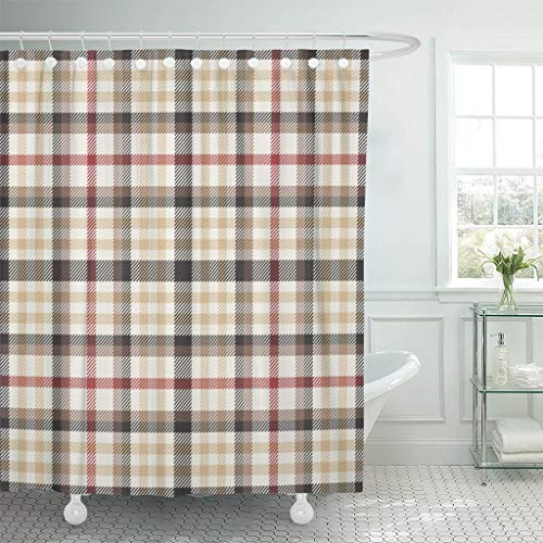 XZLWW Bruin patroon plaid rood tartan douchegordijn waterdicht polyester stof met haak set