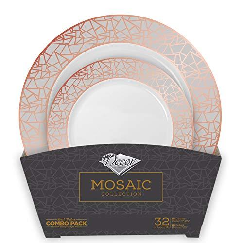 Decor Decorline - Premium Teller Set für Parties - 32 Teile - Edle Einweg Mosaikkollektion – Rosé/Silber, Hochwertiges Vintage Geschirr - Geschirr Set für Alle Gelegenheiten