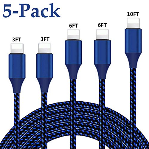 iPhone Charger, MFi Certified Lightning Cable 5 Pack (3/3/6/6/10FT) Nylon Braided Charging Compatible with iPhone 11/Pro/Max/X/XS/XR/XS Max/8/Plus/7/7 Plus/6/6S/6 Plus and More