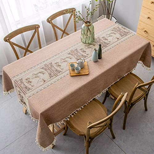 DJUX Modern Simple Solid Color Table Cloth Classical Retro Tea Ceremony Coffee Table Cloth Cotton Linen 140x200cm