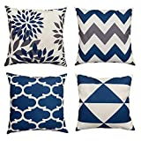 Didebo Geometric Pillow Covers 18x18 Set of 4,Decorative Couch Pillow Cover for Sofa,Linen Cushion Case Home Decoration (18'x18', Dark Blue)