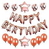 Globos Cumpleaños Decoracione,Cumpleaños Decoración Fiesta Oro Rosa para- Globos para Pancarta de Feliz Cumpleaños, Globos de Confeti ,Globos de látex y estrellas,bombona helio globos