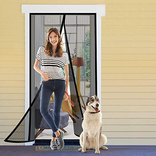 Delxo Magnetic Screen Door 39'W x 82'H with Super Tight Self Closing Magnetic Seal and Full Frame Hook & Loop Durable Polyester Mesh Curtain Door Net Screen with Magnet Black