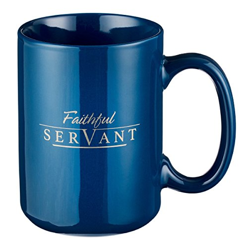 Christian Encouragement Gifts for Men - Faithful Servant Coffee Cup w/ 2 Chronicles Scripture Verse Navy Coffee Mug...