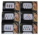 Wevez Pack of 6 Multi Color Long Rhinestone Body Glitters Reusable Bindi