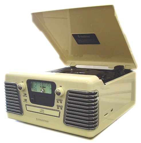 Steepletone Roxy 3 Record Player - Retro 1960s Style Turntable, CD Player, Radio & MP3 RECORDING via USB Port & SD Memory Card Slot - Nostalgic Music Centre - NEW: Connection to iPod, iPhone, iPad & MP3 player (plays via system speakers) - Ivory Cream with Chrome Effect Grilles